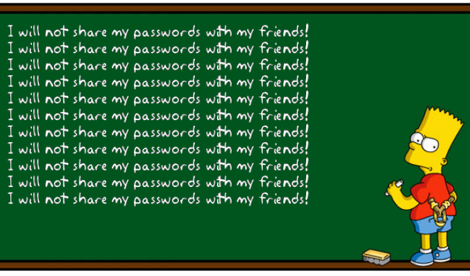 I will not share my password with my friends!